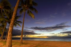 Sławna Waikiki plaża, O «ahu, Hawaje zdjęcie royalty free