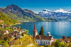 Sławne łodzie na jeziornej lucernie w Weggis, Szwajcaria Obraz Royalty Free