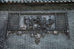 Sławne atrakcje turystyczne w Guangzhou miasta Chen Porcelanowej ancestralnej świątyni na dachu, ceglany inscenizowanie scenerii  fotografia stock