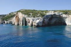 Sławne błękit jamy w Zakynthos wyspie zdjęcia stock