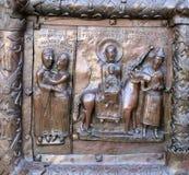 Sławne brązowe zachodnie wejściowe bramy St.Sophia katedra w Veliky Novgorod Obraz Stock