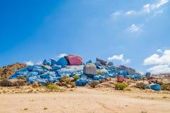 Sławne kolorowe Malować skały blisko Tafraoute w Antych atlant górach Maroko, afryka pólnocna Zdjęcia Stock