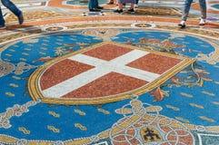 Sławne podłogowe mozaiki galleria Vittorio Emanuele II obrazy royalty free