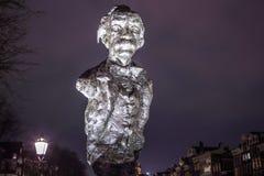 Sławne rzeźby Amsterdam centrum miasta Generał kształtuje teren widok miasto zabytki & sztuka protestuje Obrazy Royalty Free