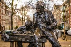 Sławne rzeźby Amsterdam centrum miasta Generał kształtuje teren widok miasto zabytki & sztuka protestuje Fotografia Stock
