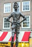 Sławne rzeźby Amsterdam centrum miasta zakończenie przy chmurnym dniem Generała krajobrazu widok miasto zabytki Obraz Stock