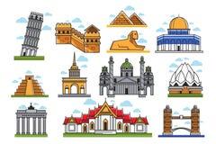 Sławni światowi zadziwia architektoniczni punkty zwrotni odizolowywali ilustracje ustawiać Zdjęcia Royalty Free