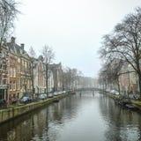 Sławni budynki i miejsce Amsterdam centrum miasta przy słońce ustalonym czasem Generała krajobrazu widok Obraz Stock