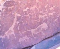 Sławni prehistoryczni rockowi rytownictwa przy Twyfelfontein, atrakci turystycznej i podróży miejscem przeznaczenia w Namibia, Af Zdjęcie Stock