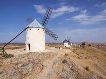 Sławni wiatraczki Don donkiszot w Consuegra, los angeles Mancha, Toledo, Hiszpania fotografia stock