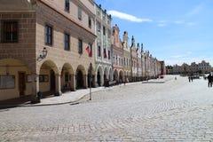 Sławni xvi wiek domy na głównym placu w TelÄ  Zdjęcie Royalty Free