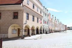 Sławni xvi wiek domy na głównym placu w TelÄ  Fotografia Royalty Free