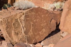 Sławni zwierzę skały rytownictwa przy Twyfelfontein w Damaraland, Namibia, afryka poludniowa Zdjęcia Royalty Free