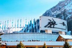 Sławny łyżwiarski lodowisko Medeo w Almaty, Kazachstan obrazy royalty free