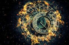 Sławny astronomiczny zegar przy Praga, republika czech ilustracji