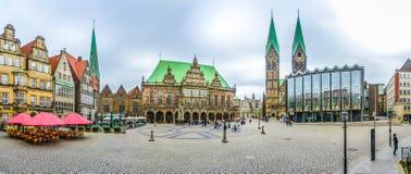 Sławny Bremen Targowy kwadrat w Hanzeatyckim mieście Bremen, Niemcy zdjęcia royalty free