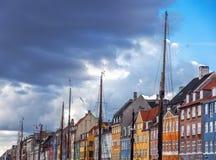 Sławny bulwar w Kopenhaga, symbol Duński capi zdjęcia royalty free