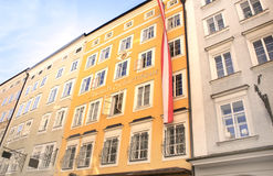 Sławny dom Salzburg, dokąd Mozart był urodzony Zdjęcia Royalty Free