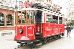 Sławny dziejowy tramwaj w centrum Istanbuł Fotografia Stock