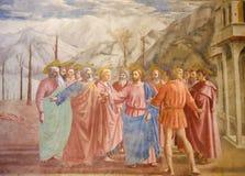 Sławny fresk uznanie pieniądze w Brancacci kaplicie w Flore fotografia royalty free