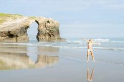 Sławny Hiszpański miejsce przeznaczenia, katedry wyrzucać na brzeg, Galicia, Hiszpania fotografia royalty free