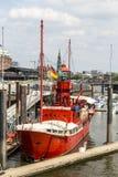 Sławny latarniowiec LV 13 słuzyć nowadays jako restauracja w Hamburg Zdjęcie Royalty Free
