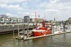 Sławny latarniowiec LV 13 słuzyć nowadays jako restauracja w Hamburg Zdjęcia Stock