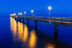 Sławny molo Ahlbeck, Niemcy, przy nocą Fotografia Stock