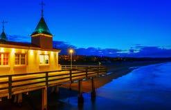 Sławny molo Ahlbeck, Niemcy, przy nocą Zdjęcie Royalty Free