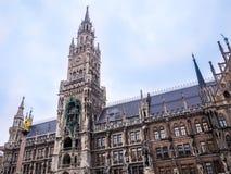 Sławny Munich urząd miasta przy marienplatz, Niemcy Bavaria godziny krajobrazu sezonu zimę Zdjęcie Stock