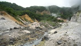 Sławny Noboribetsu Jigokudani - piekło dolina zbiory