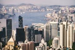 Sławny pejzażu miejskiego widok od Wiktoria szczytu, Hong Kong zdjęcia royalty free