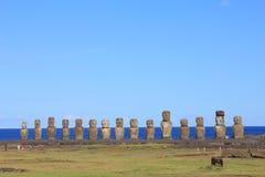 Sławny piętnaście moai przy Ahu Tongariki, Wielkanocna wyspa Zdjęcia Royalty Free