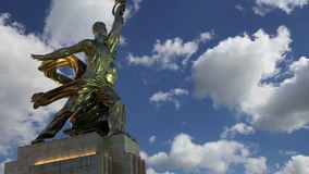 Sławny sowiecki pomnikowy Rabochiy ja Kolkhoznitsa kołchozu i pracownika kobieta pracownik lub spółdzielnia rolnik, Moskwa, Rosja zbiory