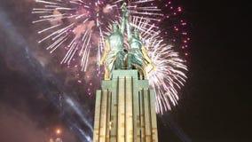 Sławny sowiecki pomnikowy Rabochiy ja Kolkhoznitsa kołchozu i pracownika kobieta pracownik lub spółdzielnia rolnik rzeźbiarz Vera zbiory