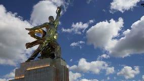 Sławny sowiecki pomnikowy Rabochiy ja Kolkhoznitsa kołchozu i pracownika kobieta pracownik lub spółdzielnia rolnik rzeźbiarz Vera zbiory wideo