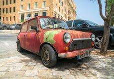 Sławny Stary Klasyczny Czerwony Mini Cooper obraz stock