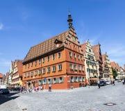 Sławny stary romantyczny średniowieczny miasteczko Dinkelsbuehl Obraz Royalty Free