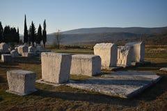 Sławny stecci w Radimlja średniowiecznym necropolis zdjęcia stock