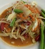 Sławny Tajlandzki jedzenie, melonowiec sałatka lub co dzwoniliśmy Somtum w Tajlandzkim Zdjęcie Royalty Free
