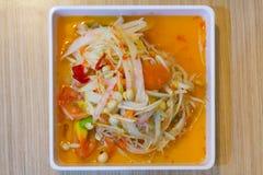 Sławny Tajlandzki jedzenie, melonowiec sałatka lub co dzwoniliśmy Somtum w Tha Obrazy Royalty Free
