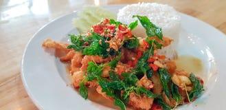 Sławny tradycyjny Tajlandzki jedzenie podpalająca ryba z basilem opuszcza Zdjęcie Royalty Free