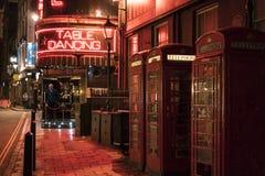 Sławny wiatraczka stołu tana bar przy Londyńskim zachodnim konem - Soho Londyn UK Zdjęcie Stock