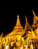 Sławny złoty pagodowy Shwedagon przy nocą, Yangon, Myanmar 1 Zdjęcie Stock