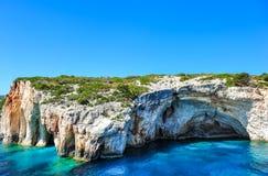 Sławny zawala się z kryształem - jasnym nawadnia na Zakynthos wyspie (Grecja) Obraz Royalty Free