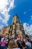 Sławny zegarowy wierza Praga urząd miasta Obraz Stock
