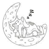 Słoń charakter Śpi na księżyc Duża kolekcja odosobneni słonie Wektor, kreskówka ilustracja wektor