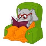 Słoń charakter Krzesła czytanie Duża kolekcja odosobneni słonie Wektor, kreskówka ilustracja wektor