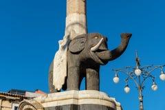Słoń fontanna Catania, Sicily, Włochy obraz stock