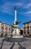 Słoń fontanna w Catania, Sicily, Włochy Obraz Royalty Free